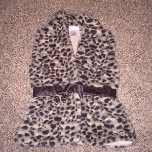 Leopard Faux Fur Soft Bottom Down Vest w/ Bow